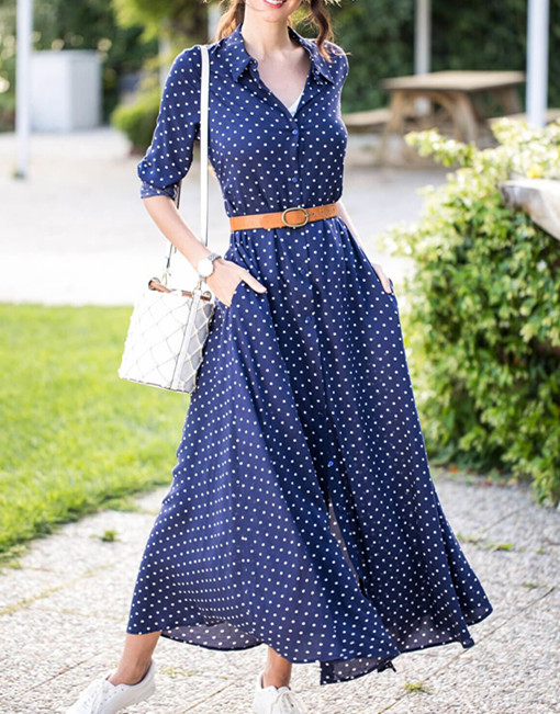 Spring Women Turn-down Collar Long Sleeve Dress Dot Prints Single-breasted Waistband Long Sundress Holiday Casual Female Clothes 8