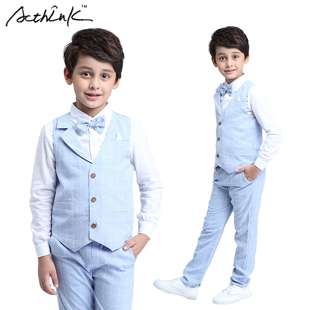 13929bd495c66 ActhInK Gentle Boys 4PCS Formal Suits Vest+Shirt+Pant+Bowtie Big Boys Plaid
