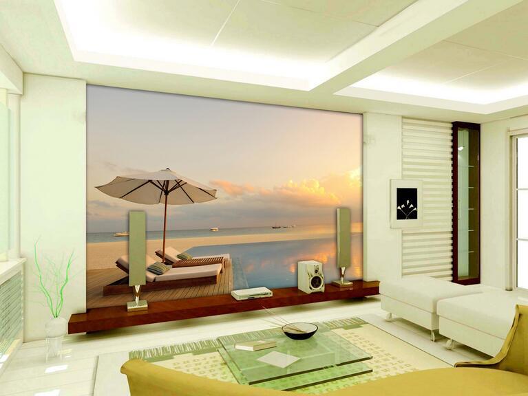 Moderne eenvoudige 3D outdoor zonsondergang grote zee ...