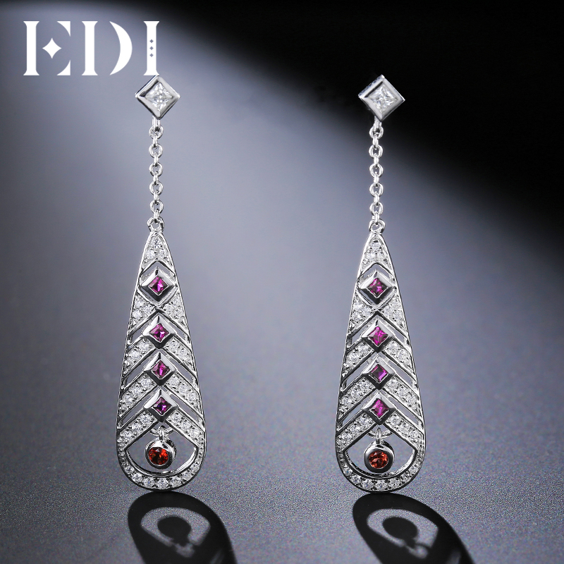 EDI Genuine Natural Garnet 925 Sterling Silver Long Drop Earrings For Women Feather Female Fine Jewelry pair of chic rhinestone long style feather earrings for women