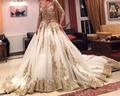 Luxury Gorgeous 2016 White V Neck Long Sleeve Princess Wedding Dress With Gold Beaded Lace Applique