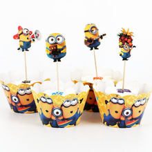 24pcs/lot Cartoon Minions Paper Cupcake Wrappers Toppers For Kids Party Birthday Decoration Cake Cups(12 wraps+12 topper)