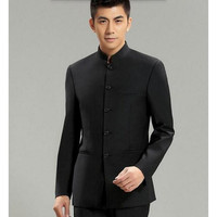 Chinese Collar Suit Jacket For Men New Mandarin Collar Slim Fit Blazers Male Wedding Jackets high quality custom Men's Suit Jackets