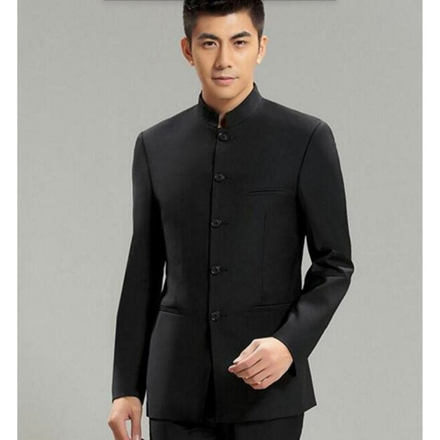 9cba50d10 Chinese Collar Suit Jacket For Men New Mandarin Collar Slim Fit Blazers Male  Wedding Jackets high quality custom