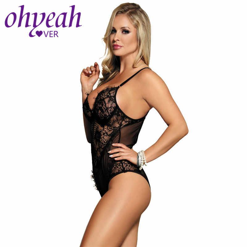 Ohyeahlover плюс размер женское Кружевное боди прозрачное боди Encaje Mujer черные эротичные боди Femme нижнее Белье 5XL Teddy RM80408