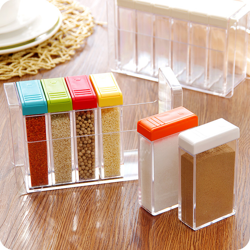 Transparent plastic 6 grids seasoning storage box Container salt and ...