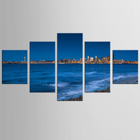 5 Pieces Set Beautiful Night Sea View Canvas Painting Sitting Room Decoration Print Canvas Pictures Framed