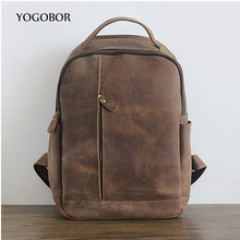 2017 high quality brand vintage genuine leather men's backpacks preppy style brown women backpack bolsas mochila feminina