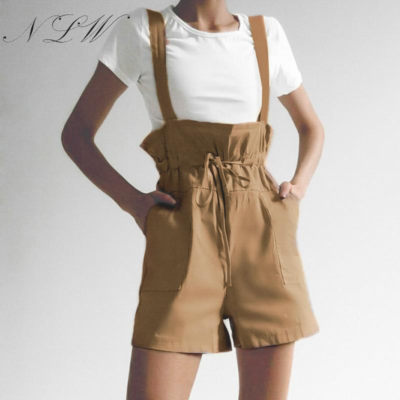 NLW Suspender   Shorts   Women Summer Casual High Waist Hotpants 2019 Wide Leg Chic   Shorts   Elastic Female Solid   Shorts   3 Colors