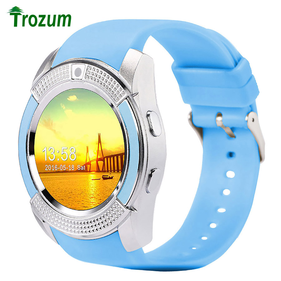 Trozum bluetooth smart watch v8 reloj con tarjeta sim tf notificador sync smartw