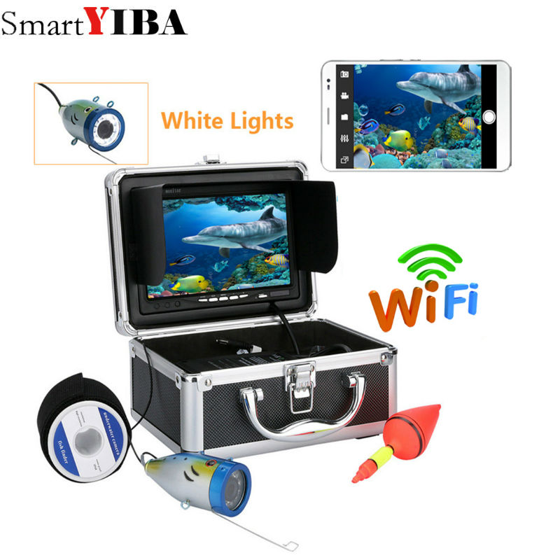 SmartYIBA 7 TFT 50M 1000tvl Underwater Fishing Video Camera Kit ,HD Wifi Wireless For IOS Android APP Supports White LED