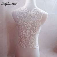 56cm Width Beaded Lace Applique Wedding Dress Neckline Collar Appliques Embroidered Lace Trim Fabric Cloth Sewing on Motif Patch