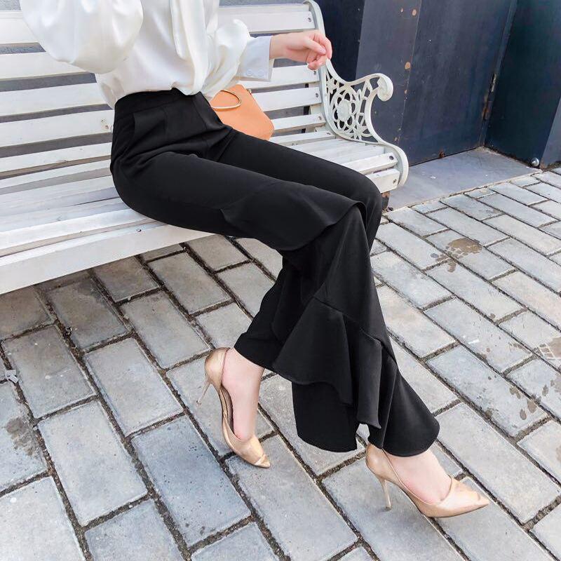 Pantalones Hoja Asimétricos Flare Mujer Pantalon Costura Marea De Loto rwvpqZx4rn
