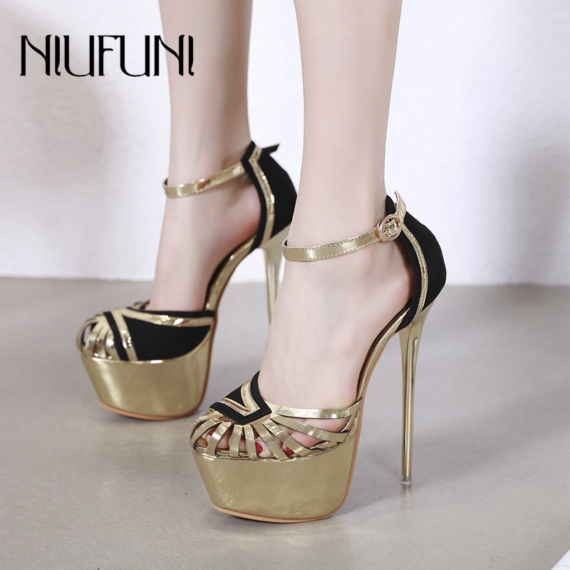 <font><b>Sexy</b></font> Women's <font><b>Sandals</b></font> Waterproof <font><b>Platform</b></font> <font><b>High</b></font> <font><b>Heels</b></font> 2019 Summer Stiletto Roman Shoes Metal Buckle Banquet Wedding Ladies Shoes image