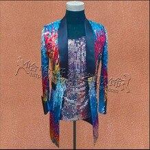 S-3XL Neue Farbverlauf pailletten nachtclub bar sänger kostüme pailletten jacke lange Blazer mantel herrenbekleidung magier kleidung