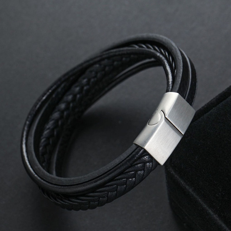 Trendy Hand Charm Jewelry Classic Genuine Leather Bracelet For Men Multilayer Magnet Handmade Gift For Cool Boys
