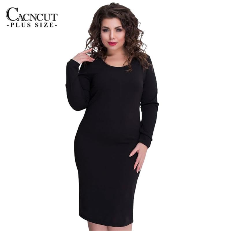 5XL 6XL однотонные платья больших размеров, большие размеры, офисное платье черного цвета, зимнее платье на молнии, женская одежда 2018 vestidos