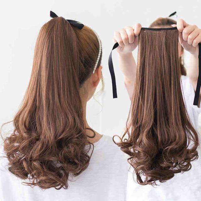Synthetic Long Curly Clip False Ponytail Natural Hair Extension Fake
