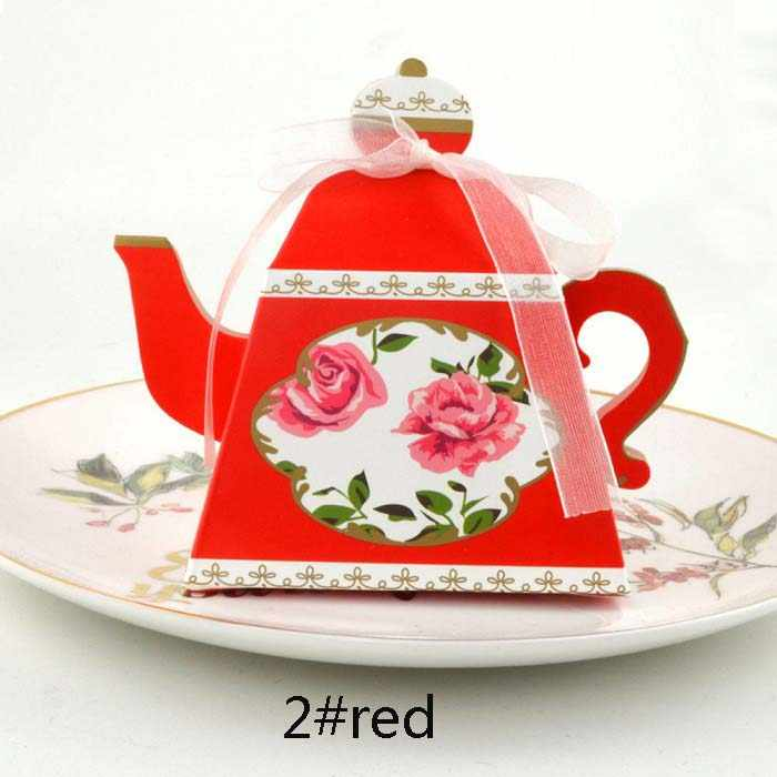 candy box bag chocolate paper gift package for Birthday Wedding Party favor Decor supplies DIY vintage tea pot shaped Wh
