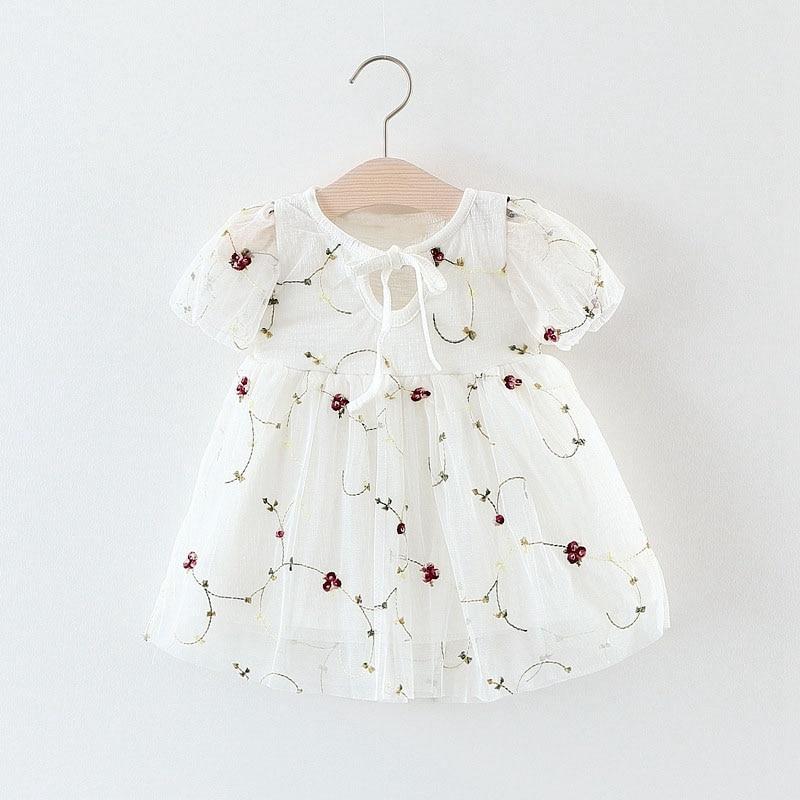Summer Baby Girls Floral Print Short Sleeve O Neck Wedding Birthday Party Mesh Tutu Dress Kids