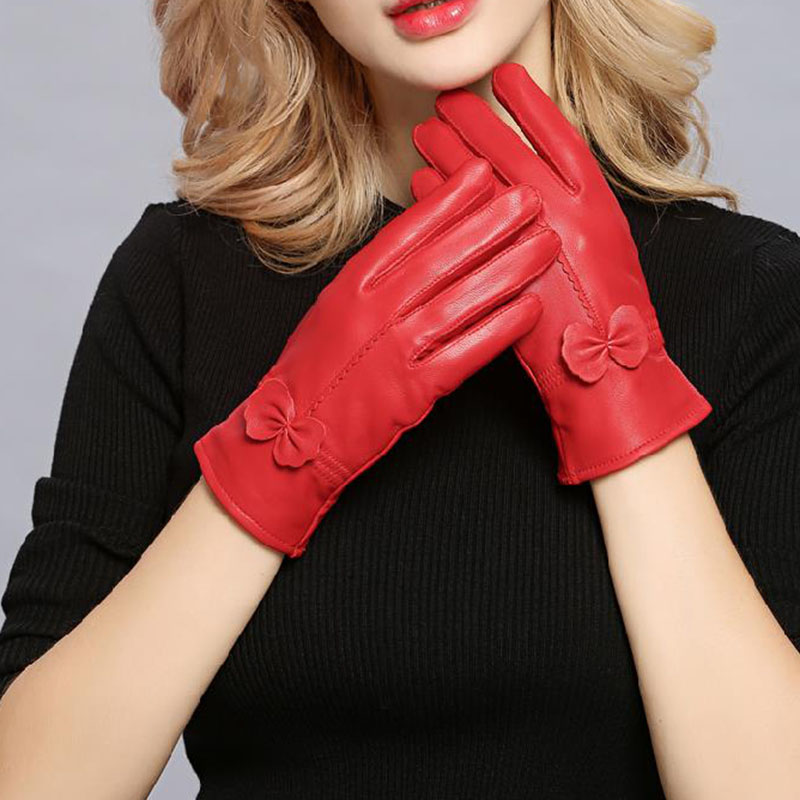 Women Genuine Leather Winter Warm Glove Ladies Real Sheep Leather Gloves Girls Driving Fashion Female Luxury