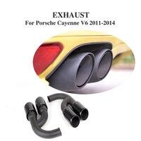 2PCS/Set Black Car Tail Muffler Pipe End Tips Fit for Porsche Cayenne V6 / V8 11 14 Stainless Steel