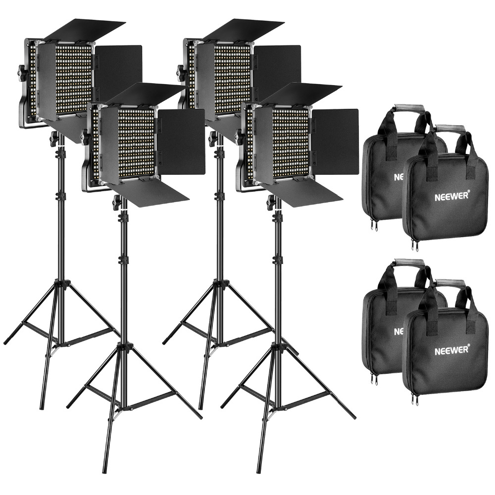 все цены на Neewer 2 Pieces Bi-color 660 LED Video Light and Stand Kit Includes 3200-5600K Light Stand for Studio Photography Video shooting онлайн