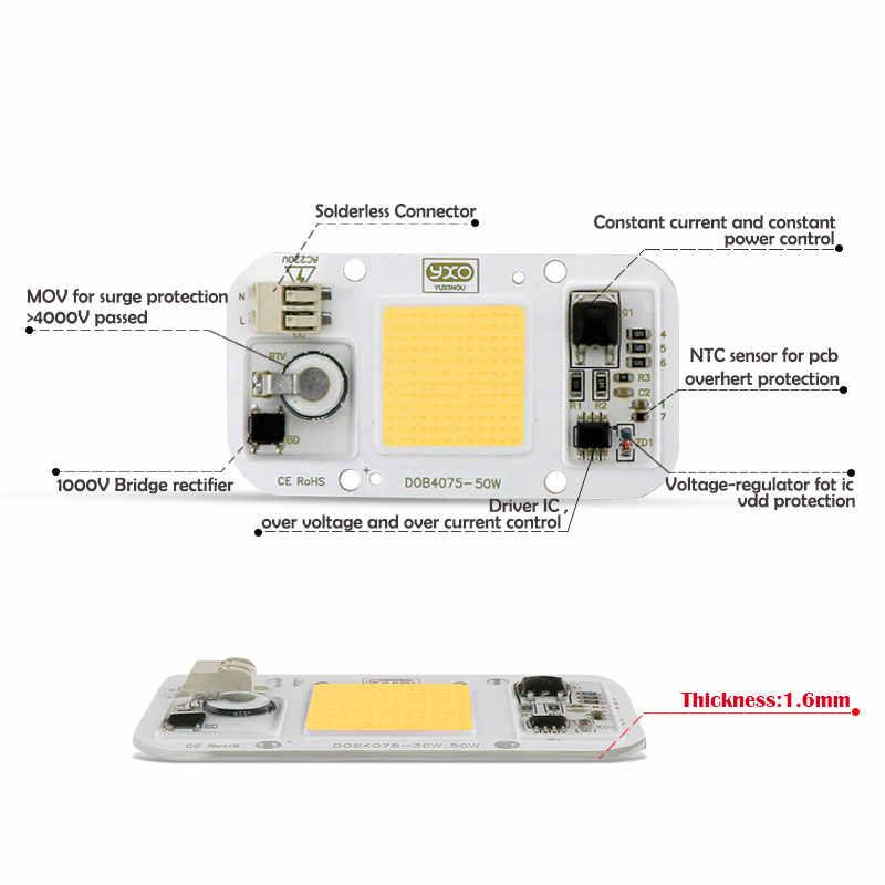 AC 110 V 220 V DOB COB LED Chip Lampu Aquarium 380Nm-840Nm 50 W Spektrum Penuh Putih Air Tanaman Tumbuh blub Rumput Laut Water Coral