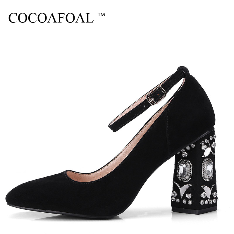 COCOAFOAL Woman Crystal Mary Janes Stiletto Fashion Sexy 9 CM High Heels Shoes Plus Size 34 - 43 Genuine Leather Green Pumps cocoafoal woman green high heels shoes plus size 33 43 sexy stiletto red wedding shoes genuine leather pointed toe pumps 2018
