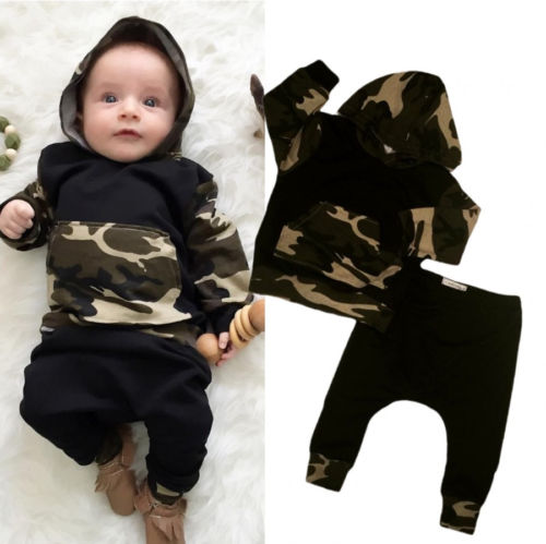 fashion Baby Clothing Suit Camouflage Newborn Baby Boys Toddler Hooded Tops +Long Pants Outfits Set Clothes