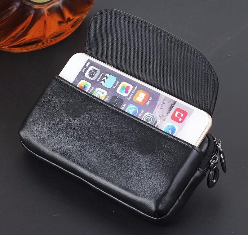 Black genuine leather belt clip pouch bag case (3)