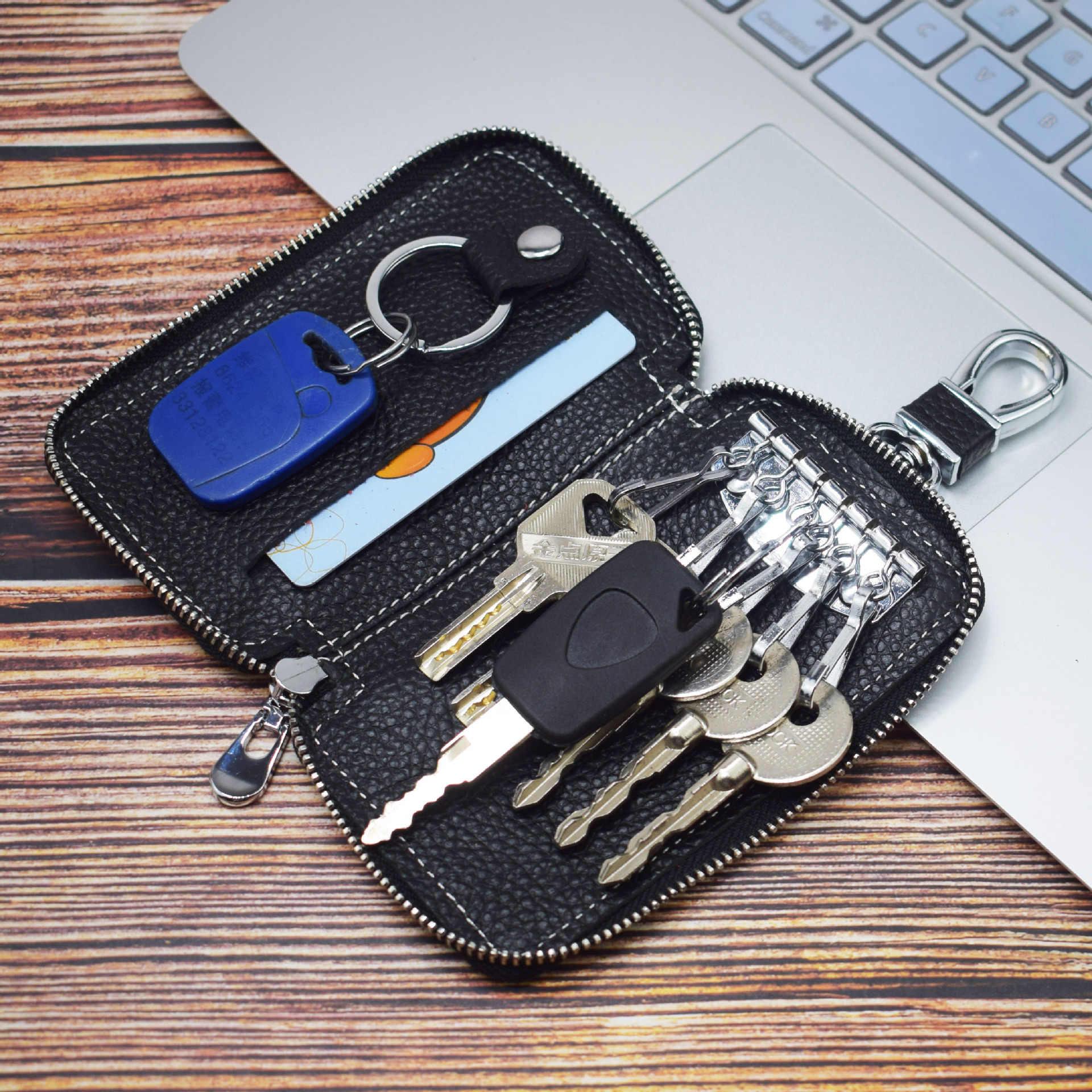 Etaofun nuevo hecho a mano 100% cuero genuino hombres mujeres llavero hogar multifunción tarjetas monederos almacenamiento llave bolsa caliente organizador de cartera