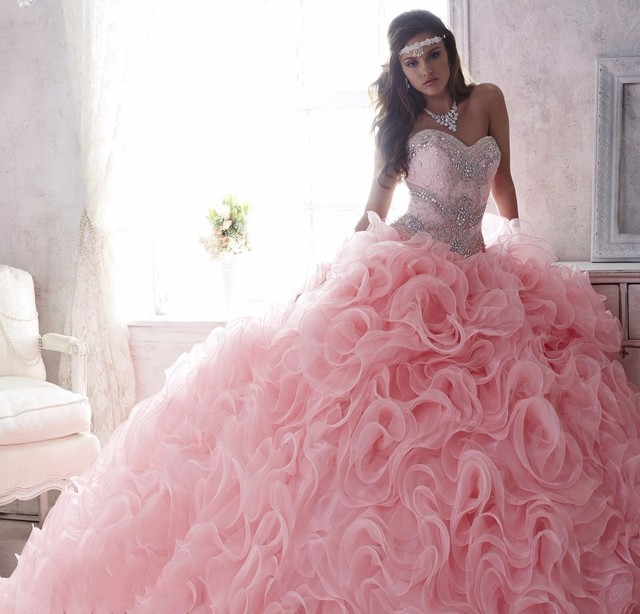 8ed5fe9281 Luxury Beaded Lace Sweetheart Light Pink Puffy Quinceanera Dresses 2016 2  in 1 Detachable Ruffles Skirt