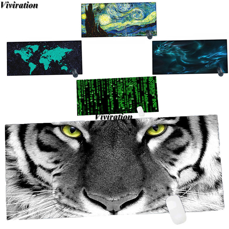 New Arrival Tiger Printing 90x40Cm XL Mens Boys Tablet PC Laptop Desktop Mat Pad Viviration Rubber Anti-slip Computer Mouse Mat