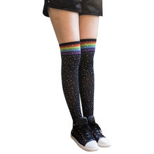 423403973 (Ship from US) 1 Pair Girls Student School Socks Fashion Stockings Casual  Thigh High Over Knee High Socks Girls Womens Female Long Knee Sock