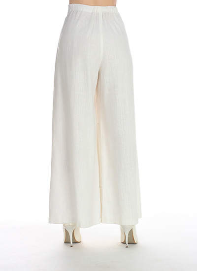 1b8bc7db310 White Print Chinese Women Cotton Linen Pant Flower Wide Leg Pants Full  Length Elastic Waist Loose