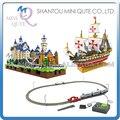 Mini Qute LOZ arquitetura mundial navio de guerra Santa Maria Eletrônico de alta-velocidade Trem trilho de plástico blocos de construção de brinquedo educativo