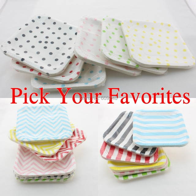 60pcs 7\  Mixed Colors Black Blue Red Green Yellow Pink Striped Polka Dot Chevron Party  sc 1 st  AliExpress.com & 60pcs 7\