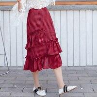 New Summer Women Skirt Plaid Chiffon Slim Irregular Long Skirts Red Grid Black And White Case