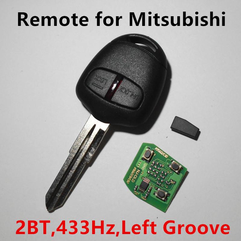 Prix pour À distance Clé 433 mhz avec Puce 2 boutons pour MITSUBISHI Pajero Montero Lancer Outlander Grandis Shogun Triton (gauche lame rainure)