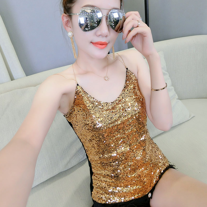 Sexy Glitter Knitted   Tank     Tops   Women Summer 2019 Camisole Vest Gold Thread Sequined   tops   Stretchable Slim shirt White Black