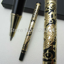 Free shipping 0.7MM perfect Kim Ho celluloid pen engraved Roller Pen of yellow and black gold цена
