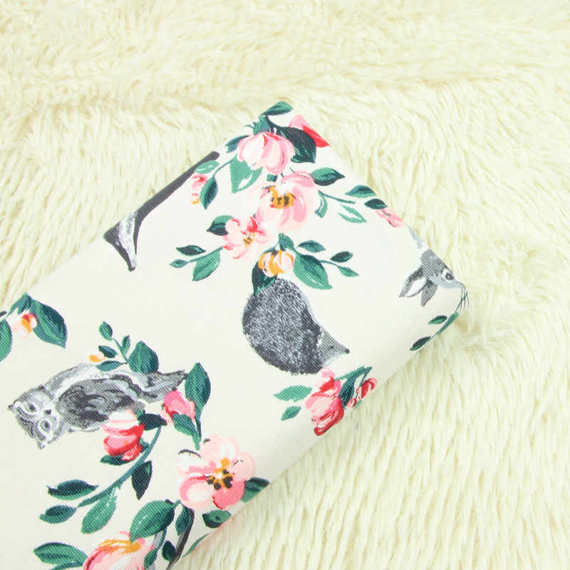 half meter 100% cotton canvas fabric with cartoon flower animal print, handmade DIY sofa pillow cloth A892