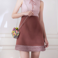 Vintage Flare Sleeve Chiffon Shirt Female Long Sleeve Top A Bust Skirt Twinset One Piece Dress
