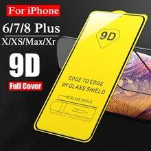 Vidrio protector 9D para iphone X XR XS protector de pantalla máx. Para iphone 6 6S 7 8 Plus Vidrio Templado