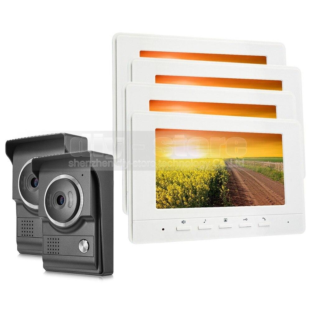 DIYSECUR 7inch Video Intercom Video Door Phone 700TV Line IR Night Vision HD Camera for Home Office Factory White 2V4