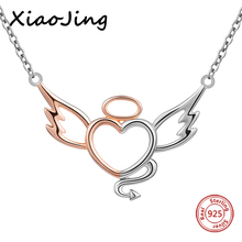 XiaoJing New fashion 100% 925 sterling silver diy design angel&devil pendant chain necklace jewelry making women gifts