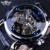 Vencedor Esqueleto Preto Designer Azul Gravura Relógio de Homens Pulseira de Couro Mens Relógios Top Marca de Luxo Automático do Relógio Montre Homme