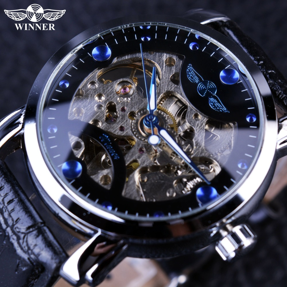 Winner Black Skeleton Designer Blue Engraving Clock Men Leather Strap Mens Watches Top Brand Luxury Automatic Watch Montre Homme mens mechanical watches top brand luxury watch fashion design black golden watches leather strap skeleton watch with gift box