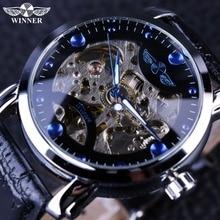Победитель Черный Каркас дизайнерские синие гравировка часы мужчины кожаный ремешок мужские часы лучший бренд класса люкс автоматические часы Montre Homme